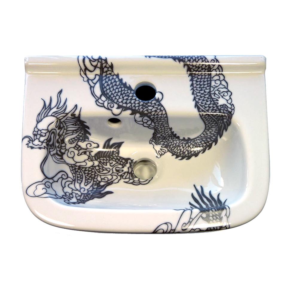 Wasbak met een ontwerp van een Chinese draak door Esther Derkx # Werk Wasbak_065901