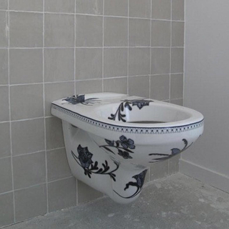 Design toilet met blauwe bloemen esther derkx ontwerper - Decoratie toilet ontwerp ...