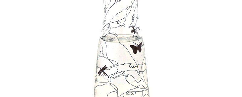 glazen waterkaraf met afbeeldingen van vogels en insecten