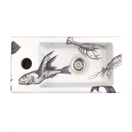 Fonteintje voor het toilet met vissen design