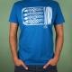 Blauw t-shirt met een grafische afbeelding van sardientjes in blik in wit