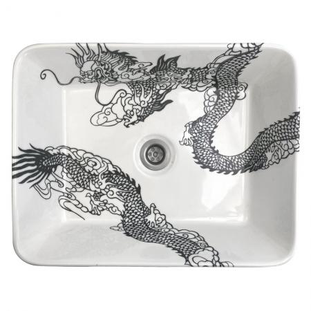 Opzet wastafel met een ontwerp van een Chinese draak