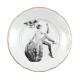 Vintage bord met historische foto van een proostende dame