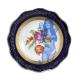 Klein rond vintage schaaltje met blauwe rand, bloemen en een toegevoegd fotomodel. Vernieuwd! servies